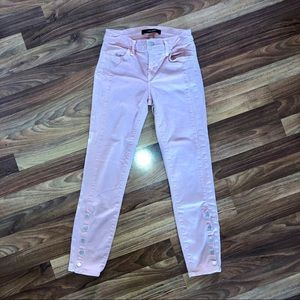 J Brand Baby Pink Ankle Skinny Jeans
